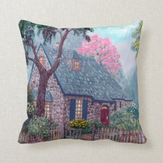 O'Regan Floral Cottage by Ave Hurley Throw Pillow