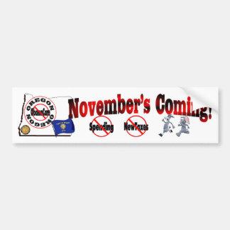 Oregon Anti ObamaCare – November's Coming! Bumper Sticker
