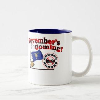 Oregon Anti ObamaCare – November's Coming! Two-Tone Coffee Mug