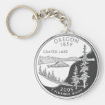 Oregon Basic Round Button Keychain