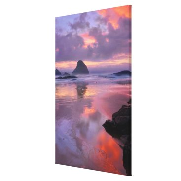 Beach Themed Oregon beach and sea stacks, sunset canvas print