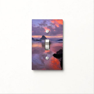 Oregon beach and sea stacks, sunset light switch cover