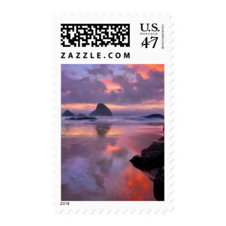 Oregon beach and sea stacks, sunset postage