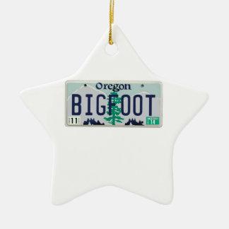 Oregon Bigfoot License Plate Ceramic Ornament