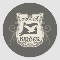 Round Sticker with Oregon Birder design