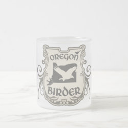 Frosted Glass Mug with Oregon Birder design