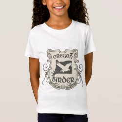 Girls' Fine Jersey T-Shirt with Oregon Birder design