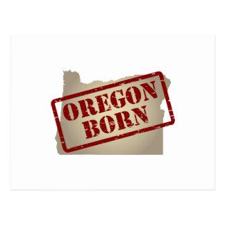 Oregon Born - Stamp on Map Postcard