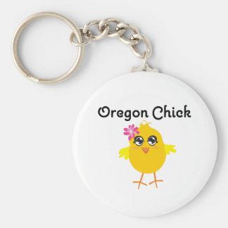 Oregon Chick Basic Round Button Keychain