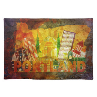 Oregon Cityscape in Map  Grunge Background Illustr Placemat