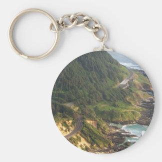 Oregon Coast Basic Round Button Keychain