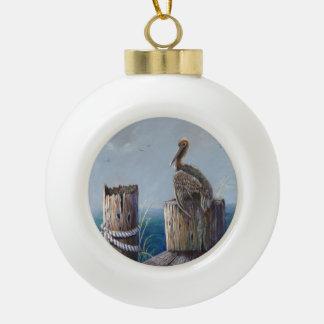 Oregon Coast Brown Pelican Acrylic Ocean Art Ceramic Ball Christmas Ornament