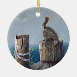 Oregon Coast Brown Pelican Acrylic Ocean Art Ceramic Ornament