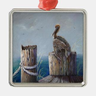 Oregon Coast Brown Pelican Acrylic Ocean Art Metal Ornament