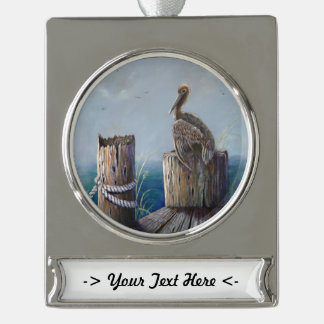 Oregon Coast Brown Pelican Acrylic Ocean Art Silver Plated Banner Ornament