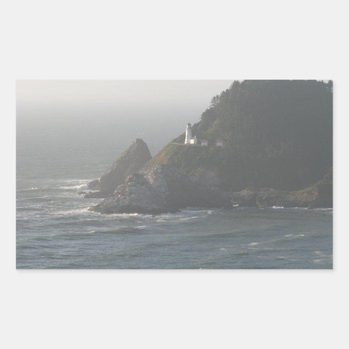 Oregon Coast Lighthouse Rectangular Sticker