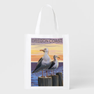 Oregon Coast Sea Gulls Reusable Grocery Bag