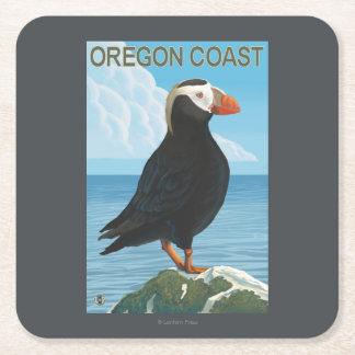 Oregon Coast Tufted Puffin Square Paper Coaster