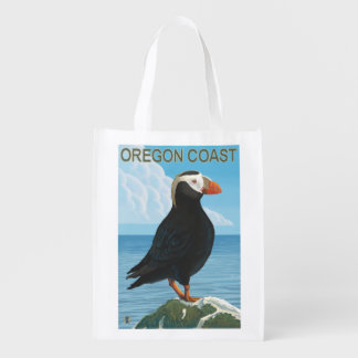 Oregon Coast Tufted Puffin Reusable Grocery Bags