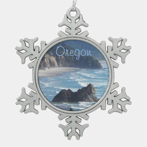 Oregon Coastline Pewter Snowflake Ornament
