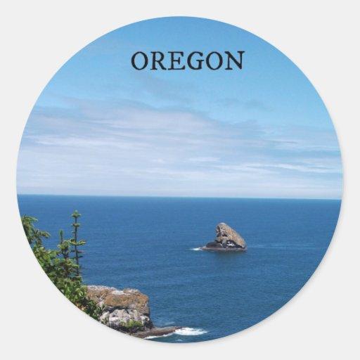Oregon costero etiquetas redondas