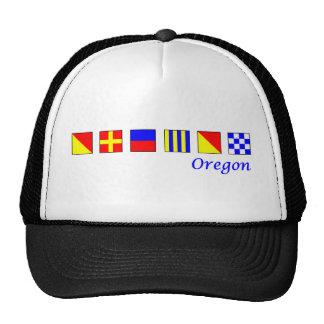 Oregon deletreó en alfabeto náutico de la bandera gorra