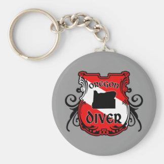 Oregon Diver Basic Round Button Keychain Round Keychain <  < Scuba Diving T-Shirts & Gifts