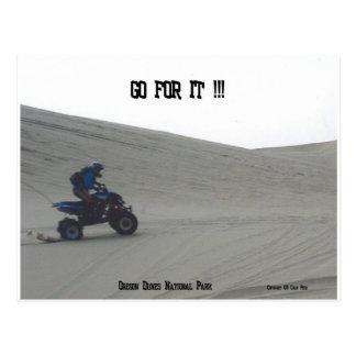 Oregon Dunes National Park Quad Jump Ride Art Postcard