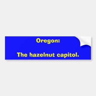 Oregon: El capitol. de la avellana Etiqueta De Parachoque