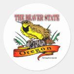 Oregon el estado Meadowlark del castor Pegatina Redonda