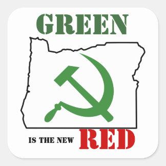 Oregon - el verde es el nuevo rojo calcomanía cuadrada