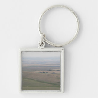 Oregon Farmland Silver-Colored Square Keychain