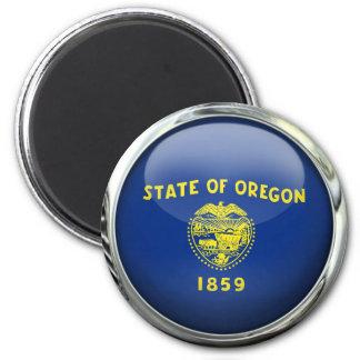 Oregon Flag Glass Ball 2 Inch Round Magnet