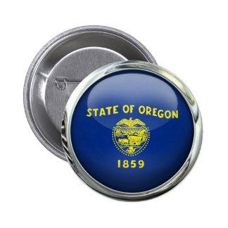 Oregon Flag Glass Ball Pinback Button