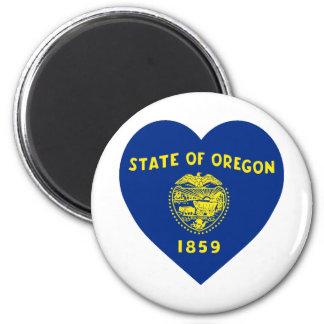 Oregon Flag Heart 2 Inch Round Magnet