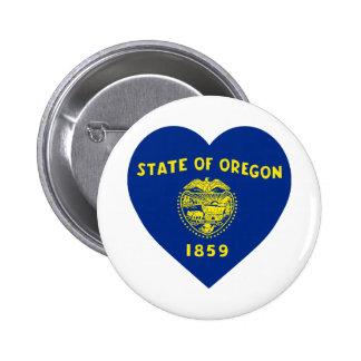 Oregon Flag Heart Pinback Button
