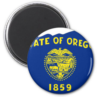 Oregon Flag Map 2 Inch Round Magnet