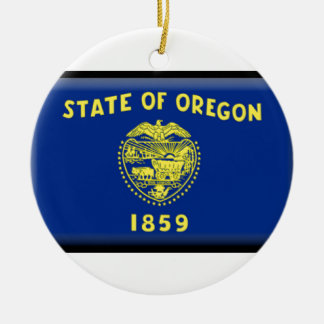Oregon flag Double-Sided ceramic round christmas ornament