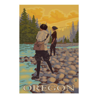 Oregon Fly Fishing - Vintage Travel Poster