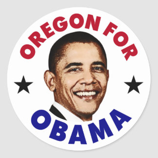 Oregon For Obama Classic Round Sticker
