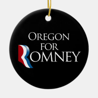 Oregon for Romney -.png Double-Sided Ceramic Round Christmas Ornament