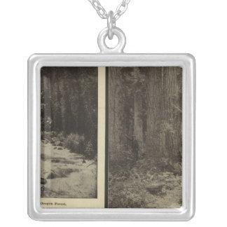 Oregon forest giant pines plaza, Salem, Oregon Silver Plated Necklace
