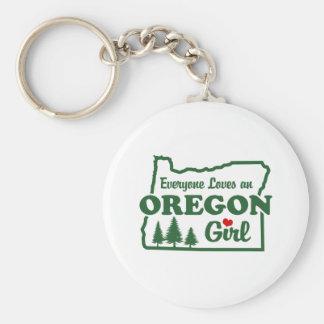 Oregon Girl Basic Round Button Keychain