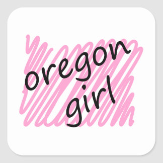 Oregon Girl with Scribbled Oregon Map Square Sticker