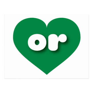 Oregon green heart - mini love postcard