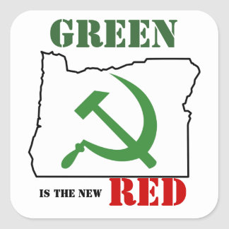 Oregon - green is the new red square sticker