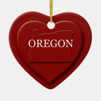 Oregon Heart Map Christmas Ornament