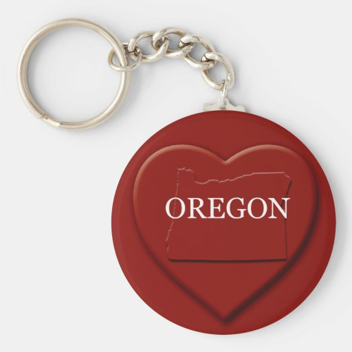 Oregon Heart Map Keychain