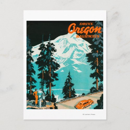 Oregon Highways Advertising Poster Postcard