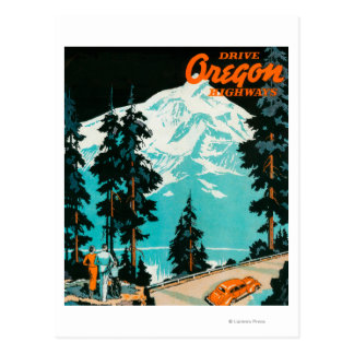 Oregon Highways Advertising Poster Postcard